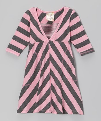 Charcoal & Pink Stripe Surplice Dress - Toddler