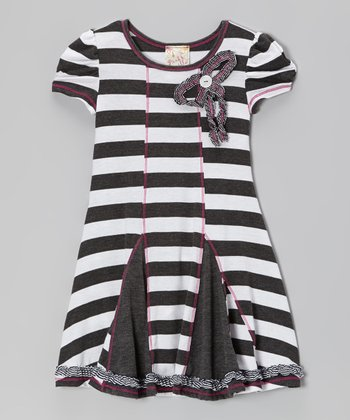 Charcoal & White Bow Stripe Dress - Girls