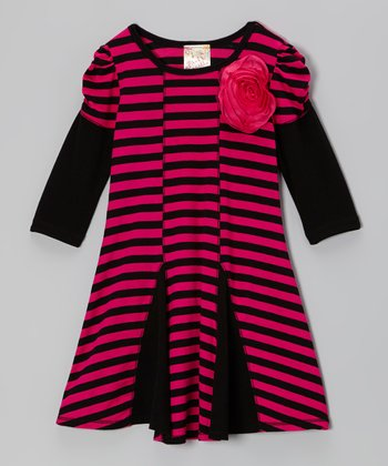 Black & Fuchsia Rose Stripe Dress - Girls