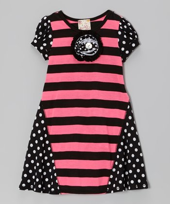 Black & Pink Stripe Polka Dot Ruffle Dress - Toddler & Girls