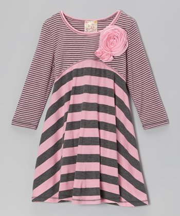 Pink & Charcoal Stripe Rosette Dress - Girls
