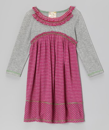 Fuchsia & Heather Gray Double Ruffle Dress - Toddler & Girls
