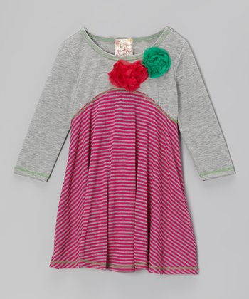 Heather Gray & Fuchsia Big Ol' Blossom Dress - Girls