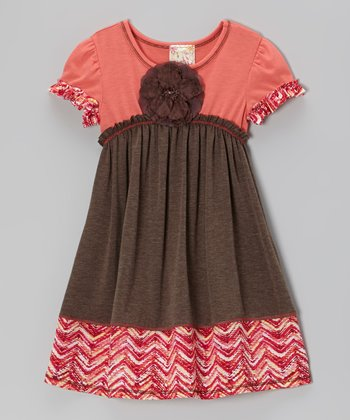 Coco & Coral Rosette Contrast Dress - Girls