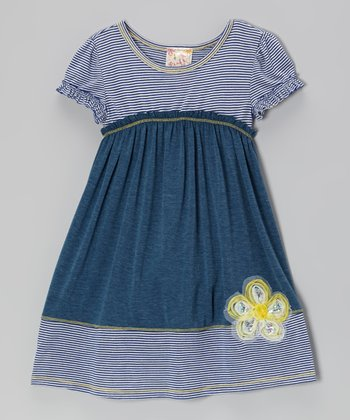 Navy & Teal Daisy Dress - Girls