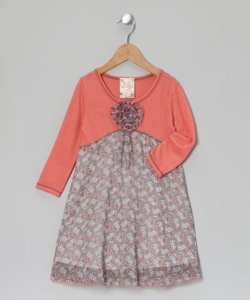 Coral Chiffon Contrast Dress - Girls