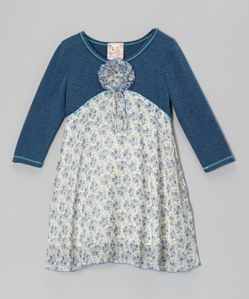 Heather Navy Chiffon Contrast Dress - Girls