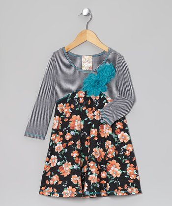 Charcoal & Coral Bouquet Blossom Dress - Girls