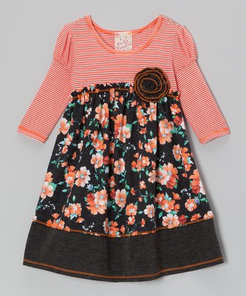 Orange Floral Dress - Girls