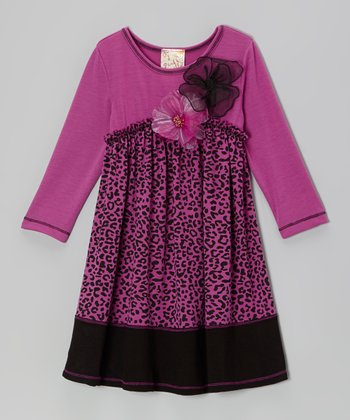 Orchid & Black Stripe Full Bloom Dress - Girls