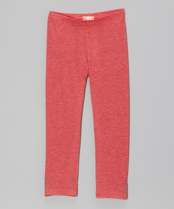 Heather Coral Leggings - Girls