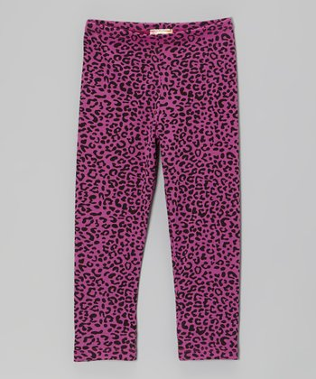 Orchid & Black Leopard Leggings - Girls