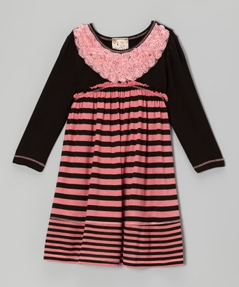 Coral & Black Stripe Rows of Rosettes Dress - Girls