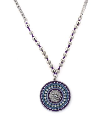 Blue & Purple Woven Thread Pendant Necklace