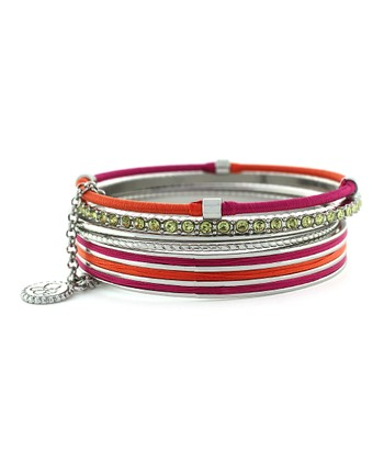 Fuchsia Colorwheel Wrapped Cord Stacked Bracelet