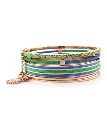 Green & Rose Gold Colorwheel Wrapped Cord Stacked Bracelet