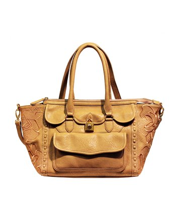 Sand Embroidered Madison Satchel