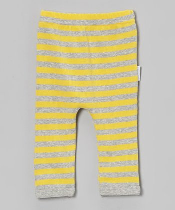 Yellow-Green Stripe Organic Leggings - Infant