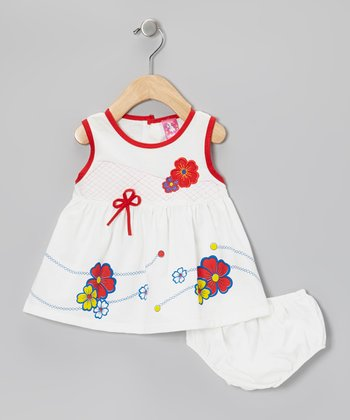 White & Red Flower A-Line Dress & Diaper Cover - Infant