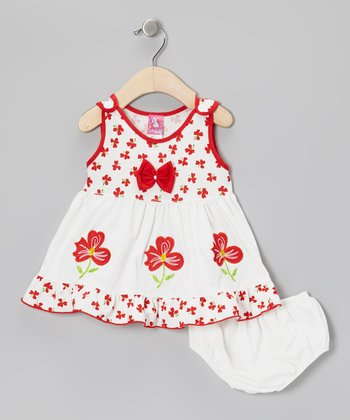 White & Red Floral Bow A-Line Dress & Diaper Cover - Infant