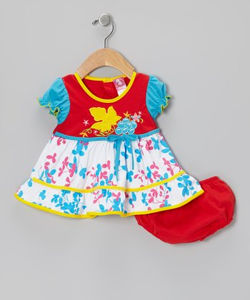 Red Leaf A-Line Dress & Diaper Cover - Infant