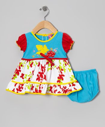 Blue Leaf A-Line Dress - Infant & Toddler