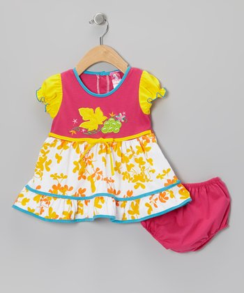 Fuchsia Leaf A-Line Dress - Infant & Toddler