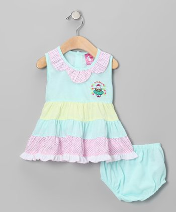 Blue 'Princess' Tiered Dress & Diaper Cover - Infant & Toddler