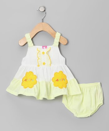 Yellow 'Happy Happy' Tiered Dress & Diaper Cover - Infant & Toddl