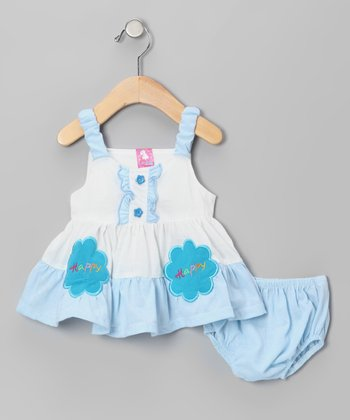 Blue 'Happy Happy' Dress & Diaper Cover  - Infant & Toddler