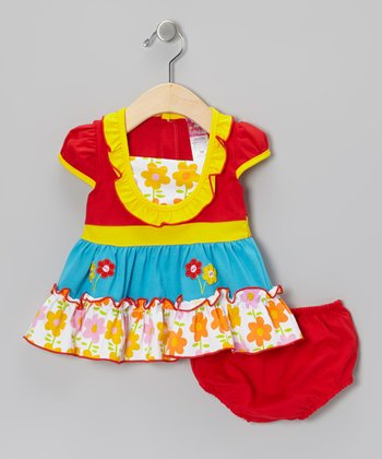 Red Flower Tiered Dress & Diaper Cover - Infant