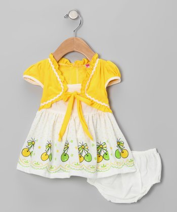 Yellow Cherry A-Line Dress & Diaper Cover - Infant & Toddler