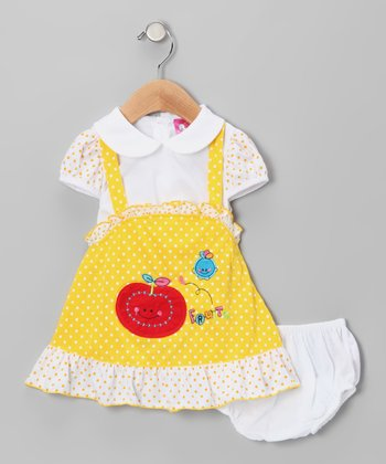 Yellow Polka Dot Fruit Dress & Diaper Cover - Infant & Toddler