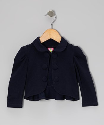 Navy Gathered Shoulder Ruffle Jacket - Toddler & Girls