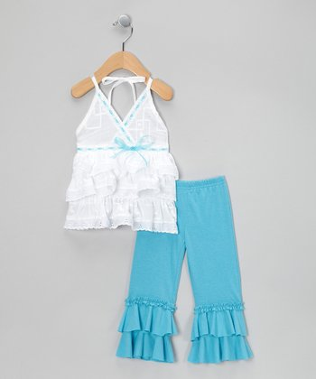 Blue Ruffle Surplice Tunic & Leggings - Infant, Toddler & Girls
