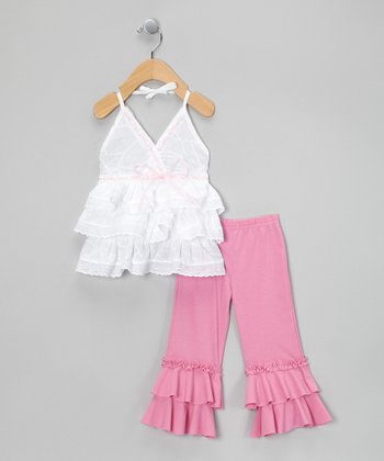 Pink Ruffle Surplice Tunic & Leggings - Infant, Toddler & Girls