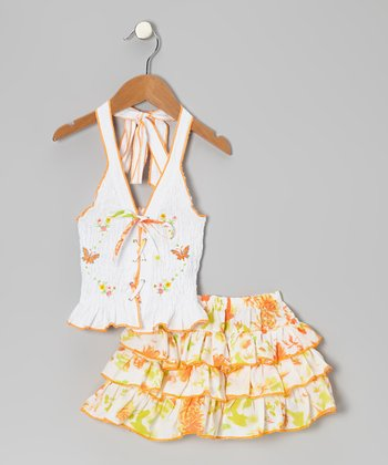 Peach Butterfly Top & Skirt - Toddler & Girls