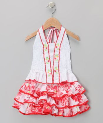 Red Ruffle Halter Dress - Toddler & Girls