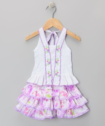Purple Ruffle Halter Dress - Toddler & Girls