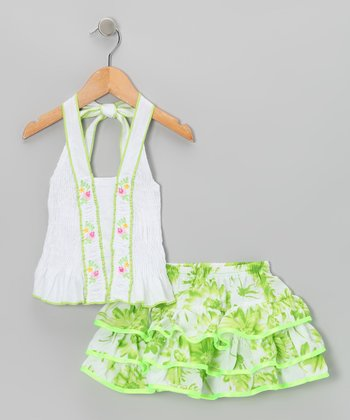 Green Floral Ruffle Halter Top & Skirt - Toddler & Girls