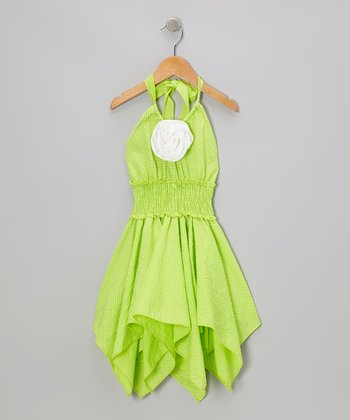 Green Flower Shirred Handkerchief Dress - Toddler & Girls