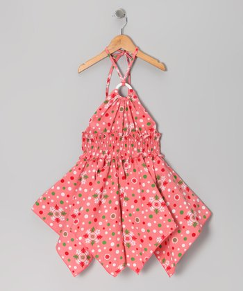 Coral Floral Polka Dot Handkerchief Dress - Toddler & Girls