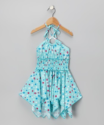 Aqua Snowflake Polka Dot Handkerchief Dress - Toddler & Girls