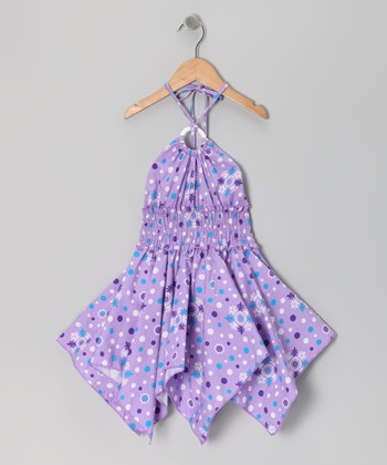 Lilac Floral Polka Dot Handkerchief Dress - Toddler & Girls