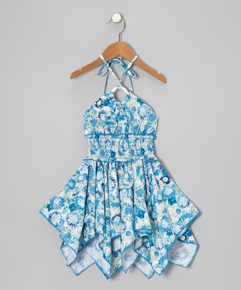 Blue Floral Shirred Handkerchief Dress - Toddler & Girls