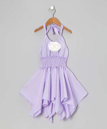 Lilac & White Rose Shirred Handkerchief Dress - Toddler & Girls