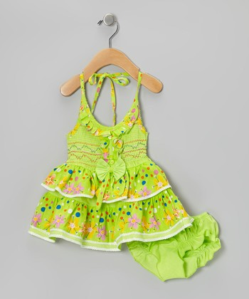 Green Flower Ruffle Halter Dress & Diaper Cover - Infant