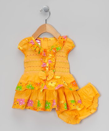Orange Flower Ruffle Dress & Diaper Cover - Infant