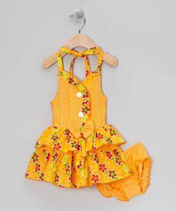Orange Floral Halter Dress & Diaper Cover - Infant