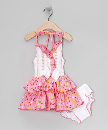 Pink Flower Halter Dress & Diaper Cover - Infant
